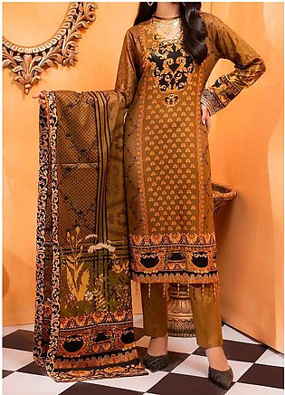 Salitex Printed Lawn Unstitched 3 Piece Suit ST20IL-2 23B Brown - Spring / Summ…