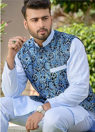 Chic Ophicial Cotton Formal Men Kurta Pajama with Waistcoat - CH23 Ice Blue C...