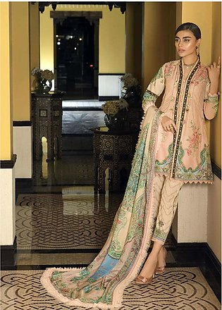 Asim Jofa Embroidered Lawn Unstitched 3 Piece Suit AJ20LL 3B - Luxury Collection