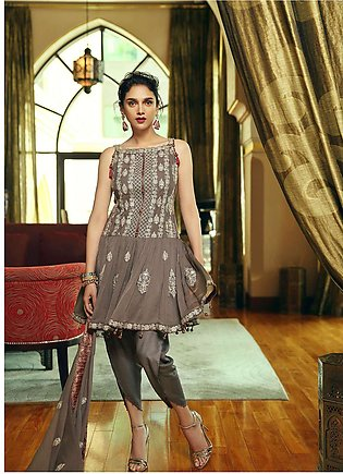 Edenrobe Embroidered Chiffon Unstitched 3 Piece Suit 019444 - Wedding Collection