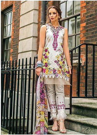 Mina Hasan Embroidered Lawn Unstitched 3 Piece Suit MH19F 7A - Festive Collec...