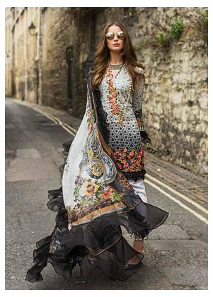 Mina Hasan Embroidered Lawn Unstitched 3 Piece Suit MH19F 1A - Festive Collection
