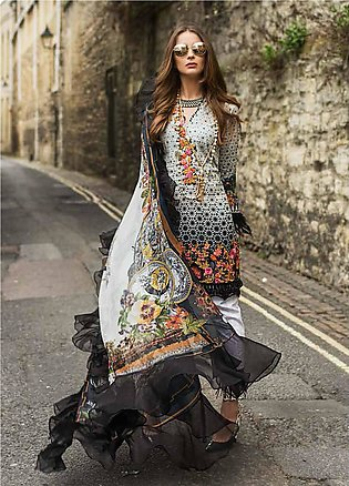 Mina Hasan Embroidered Lawn Unstitched 3 Piece Suit MH19F 1A - Festive Collec...