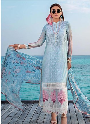 Zainab Chottani Embroidered Lawn Unstitched 3 Piece Suit ZC20LL 1B - Luxury C...