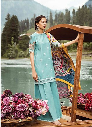 Zara Shahjahan Embroidered Lawn Unstitched 3 Piece Suit ZSM18L 05 - Luxury Co...