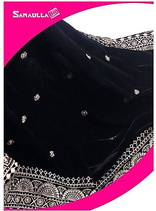 Black Embroidered Velvet Shawls for ladies - SWG 1003