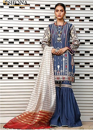 Marjaan by Sifona Embroidered Lawn Unstitched 3 Piece Suit MJ20SF 02 - Luxury...