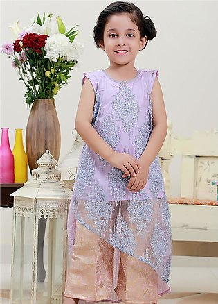 Sidra Mumtaz Net Fancy 3 Piece Suit for Girls - ICE AND LAVENDER
