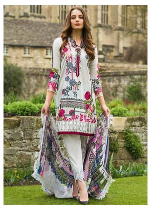 Mina Hasan Embroidered Lawn Unstitched 3 Piece Suit MH19F 6B - Festive Collection