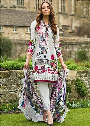 Mina Hasan Embroidered Lawn Unstitched 3 Piece Suit MH19F 6B - Festive Collec...