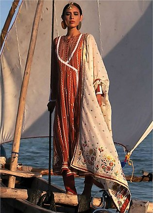 Qalamkar Embroidered Lawn Unstitched 3 Piece Suit QLM20L 07 - Luxury Collection