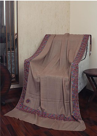 Sanaulla Exclusive Range Resham Embroidered Pashmina Shawl 19-MIR-241 Brown -...