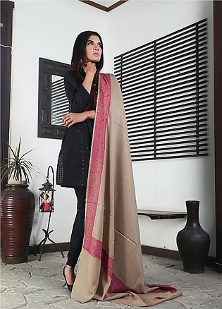 Sanaulla Exclusive Range Embroidered Pashmina Shawl 19-MIR-339 Brown - Kashmi...