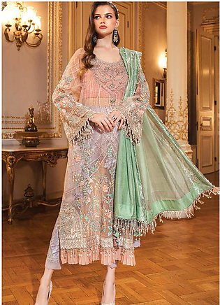Maria B Embroidered Organza Unstitched 3 Piece Suit MB20WD 03 - Wedding Collect…