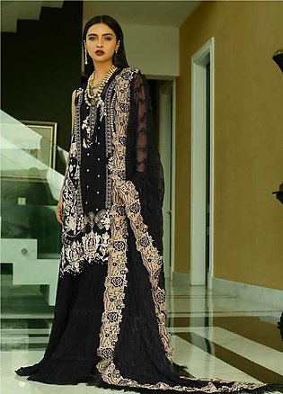 Mina Hasan Embroidered Chiffon Unstitched 3 Piece Suit MH20C 6 - Luxury Colle...