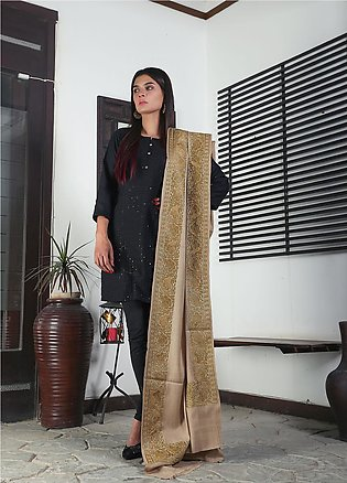 Sanaulla Exclusive Range Embroidered Pashmina Shawl 19-AKP-54 Fawn - Kashmiri...