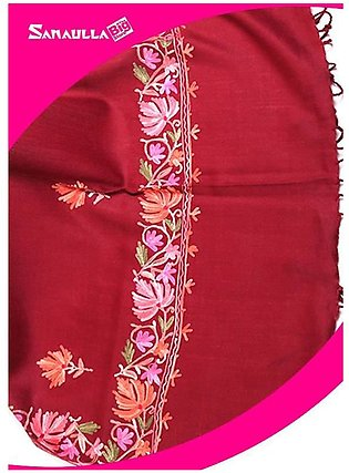 Maroon Embroidered Pashmina Shawls for ladies - SW 234