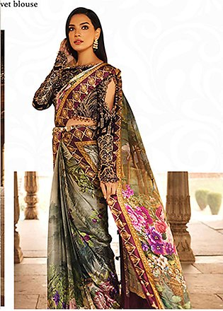 Rungrez Embroidered Chiffon Unstitched Saree RNG18CP 2 Firdous - Luxury Colle...
