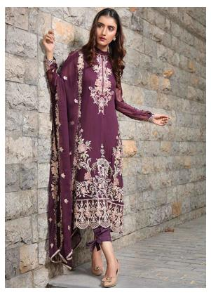 Motifz Embroidered Bemberg Chiffon Unstitched 3 Piece Suit MTF19-C4 2287 Blinked Plum - Luxury Collection