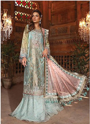 Maria B Embroidered Organza Unstitched 3 Piece Suit MB19HE 1705 - Eid Collection