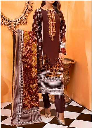 Salitex Printed Lawn Unstitched 3 Piece Suit ST20IL-2 27B Brown - Spring / Summ…