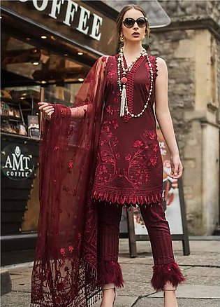 Mina Hasan Embroidered Lawn Unstitched 3 Piece Suit MH19F 9A - Festive Collec...