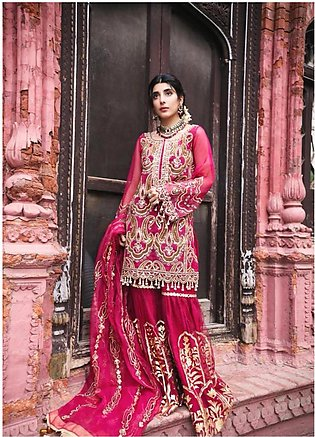 Saira Rizwan Embroidered Organza Unstitched 3 Piece Suit SR19NW AARSI - Brida...