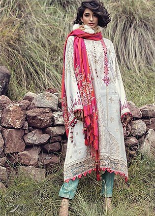Maria B Embroidered Linen Unstitched 3 Piece Suit MB19W 4 - Winter Collection