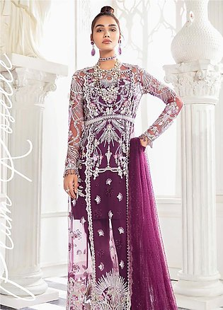 Freesia by Suffuse Embroidered Net Unstitched 3 Piece Suit FRS19W Plum Rosett...