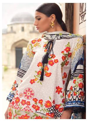 Mina Hasan Embroidered Lawn Unstitched 3 Piece Suit MH18L 8A - Festive Collection
