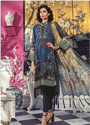 Maria B Embroidered Linen Unstitched 3 Piece Suit MBP19WE 707 B - Winter Coll...