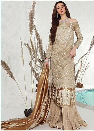 Shiza Hassan Embroidered Zari Net Unstitched 3 Piece Suit SH19F GOLD DUST - L...