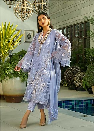 Mina Hasan Embroidered Organza Unstitched 3 Piece Suit MH20C 10 - Luxury Coll...
