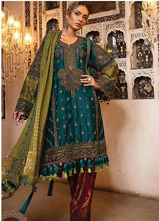 Maria B Embroidered Cotton Net Unstitched 3 Piece Suit MB19HE 1706 - Eid Coll...