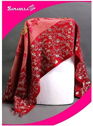 Maroon Embroidered Pashmina Shawls for ladies - SW 221