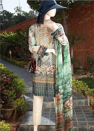 Saya Embroidered Lawn Unstitched 3 Piece Suit SY18F 4A - Festive Collection