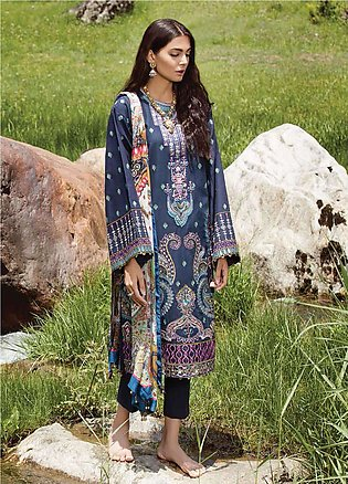 Zara Shahjahan Embroidered Lawn Unstitched 3 Piece Suit ZSM18L 07 - Luxury Co...