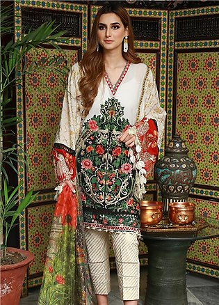 Crimson Embroidered Lawn Unstitched 3 Piece Suit CRM19L 3B - Spring / Summer ...