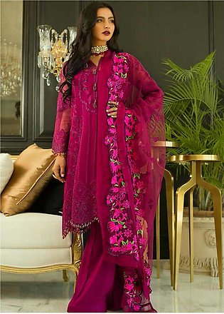Mina Hasan Embroidered Organza Unstitched 3 Piece Suit MH20C 3 - Luxury Colle...