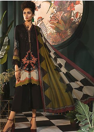 Maria B Embroidered Linen Unstitched 3 Piece Suit MBP19WE 7010 B - Winter Col...