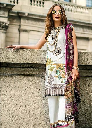 Mina Hasan Embroidered Lawn Unstitched 3 Piece Suit MH19F 2A - Festive Collec...