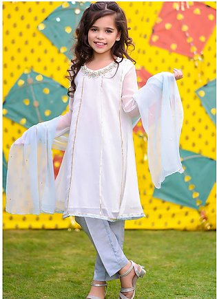 Ochre Chiffon Fancy 3 Piece for Girls - OFW-301 Ivory