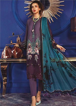Maria B Embroidered Linen Unstitched 2 Piece Suit MBP19WE 702 B - Winter Coll...