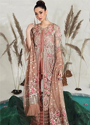 Shiza Hassan Embroidered Zari Net Unstitched 3 Piece Suit SH19F WILD ROSE - L...