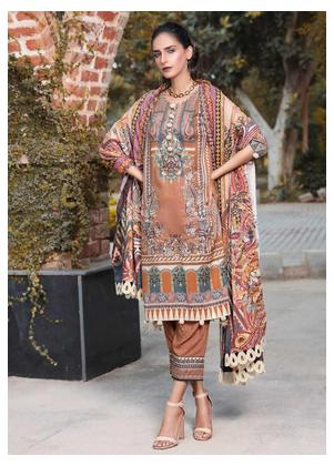 AMAL by Motifz Embroidered Linen Unstitched 3 Piece Suit AMT19LK 2404 Copper Glow - Winter Collection