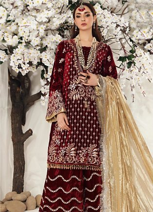 Shiza Hassan Embroidered Velvet Unstitched 3 Piece Suit SH19F CRIMSON CRUSH -...