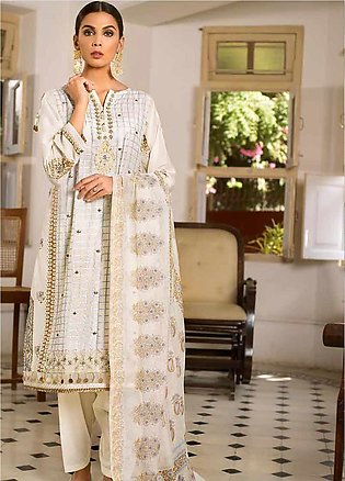 Gul Ahmed Embroidered Cotton Silk Unstitched 3 Piece Suit GAF19CS EA-98 - Fes...