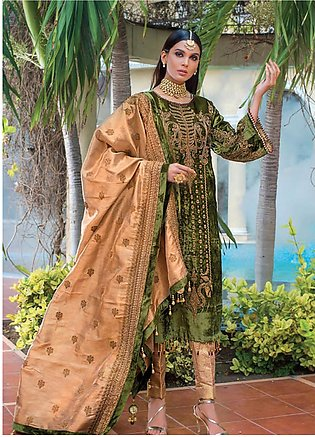 Gul Ahmed Embroidered Velvet Unstitched 3 Piece Suit GA19NC VLW 08 AMBER - Wi...