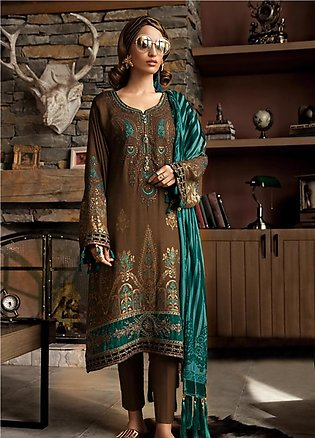 Maria B Embroidered Linen Unstitched 3 Piece Suit MB19W 2 - Winter Collection