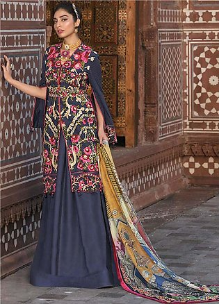 Asim Jofa Embroidered Lawn Unstitched 3 Piece Suit AJ20LL 12B - Luxury Collec...